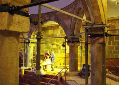 Budapest Rudas Gyógyfürdő törökkori medencecsarnok belső kőrestaurátori munkái